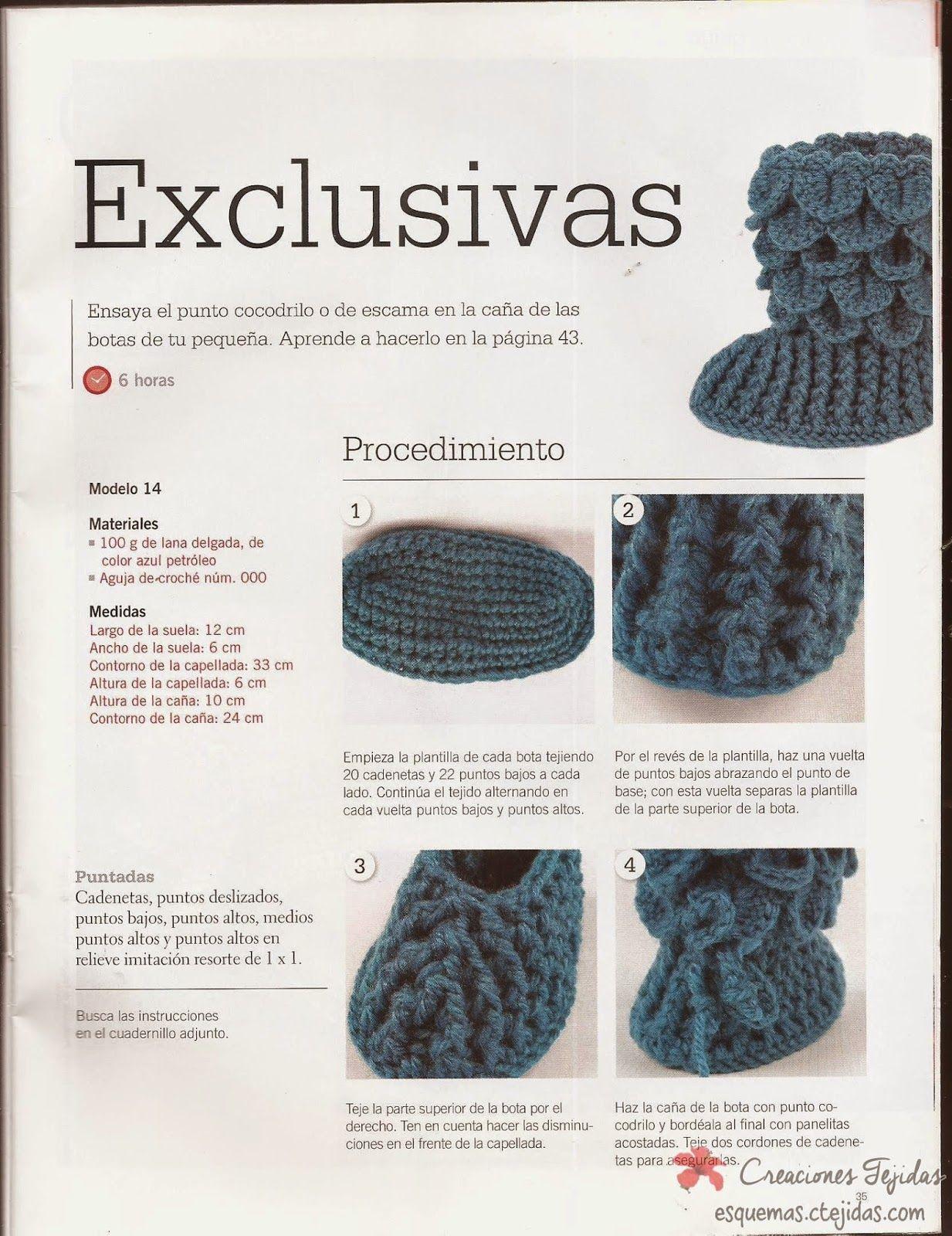 Zapatos a Crochet - Botitas a Punto de Cocodrilo | crochet beauties ...