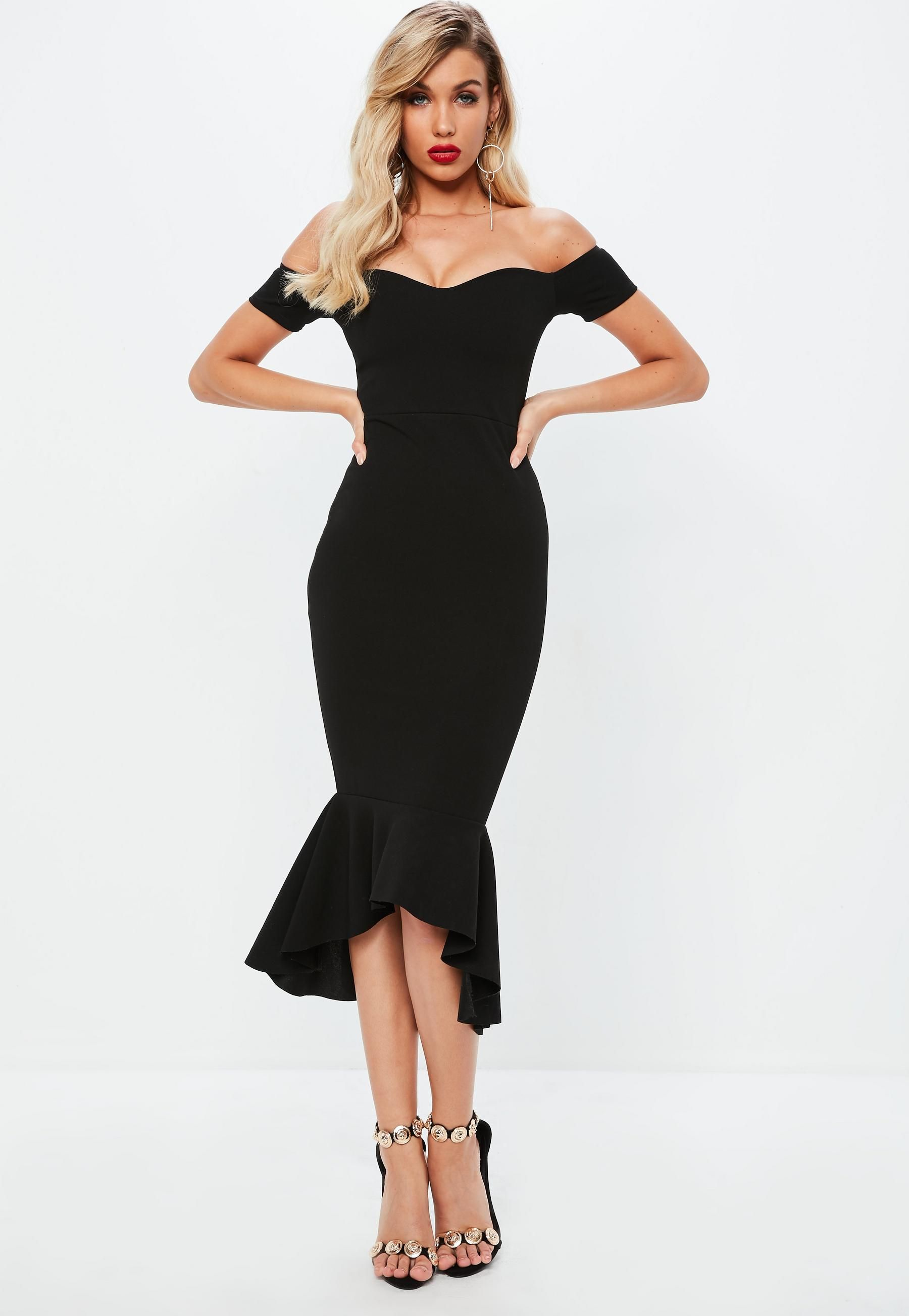 5c6ef4ba0cf0 Black Bardot Fishtail Midi Dress | Missguided | Fashion | Fishtail ...