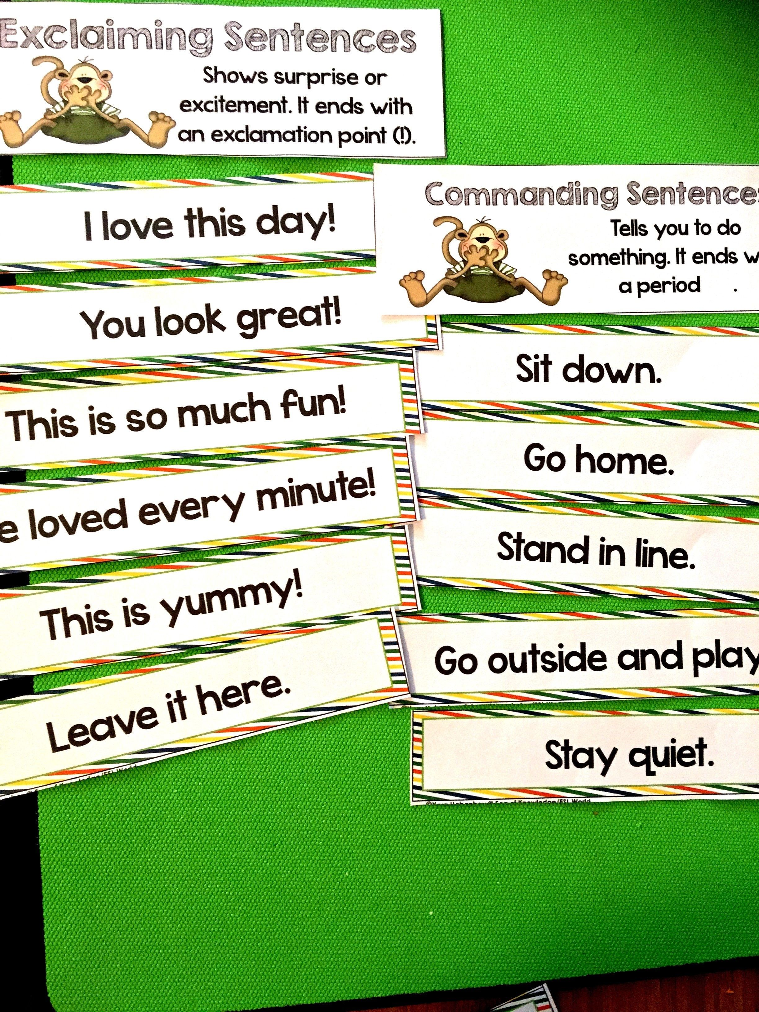 Sentence Types Activities And Centers Asking Telling Commanding Exclaiming