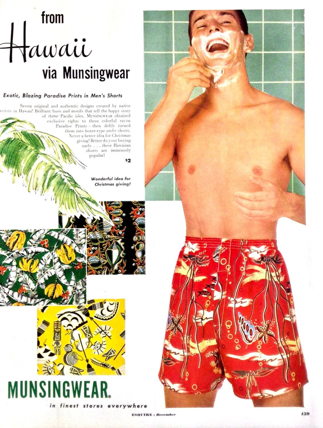 d53d29d5f0 Boxer Shorts, Vintage Print Ad, Munsingwear Men's Shorts, Swim Trunks,  Hawaii,