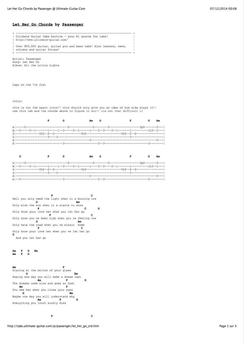 Pin By Elizathacker On Guitar Chords Let Her Go Guitar Tabs Ukelele Chords