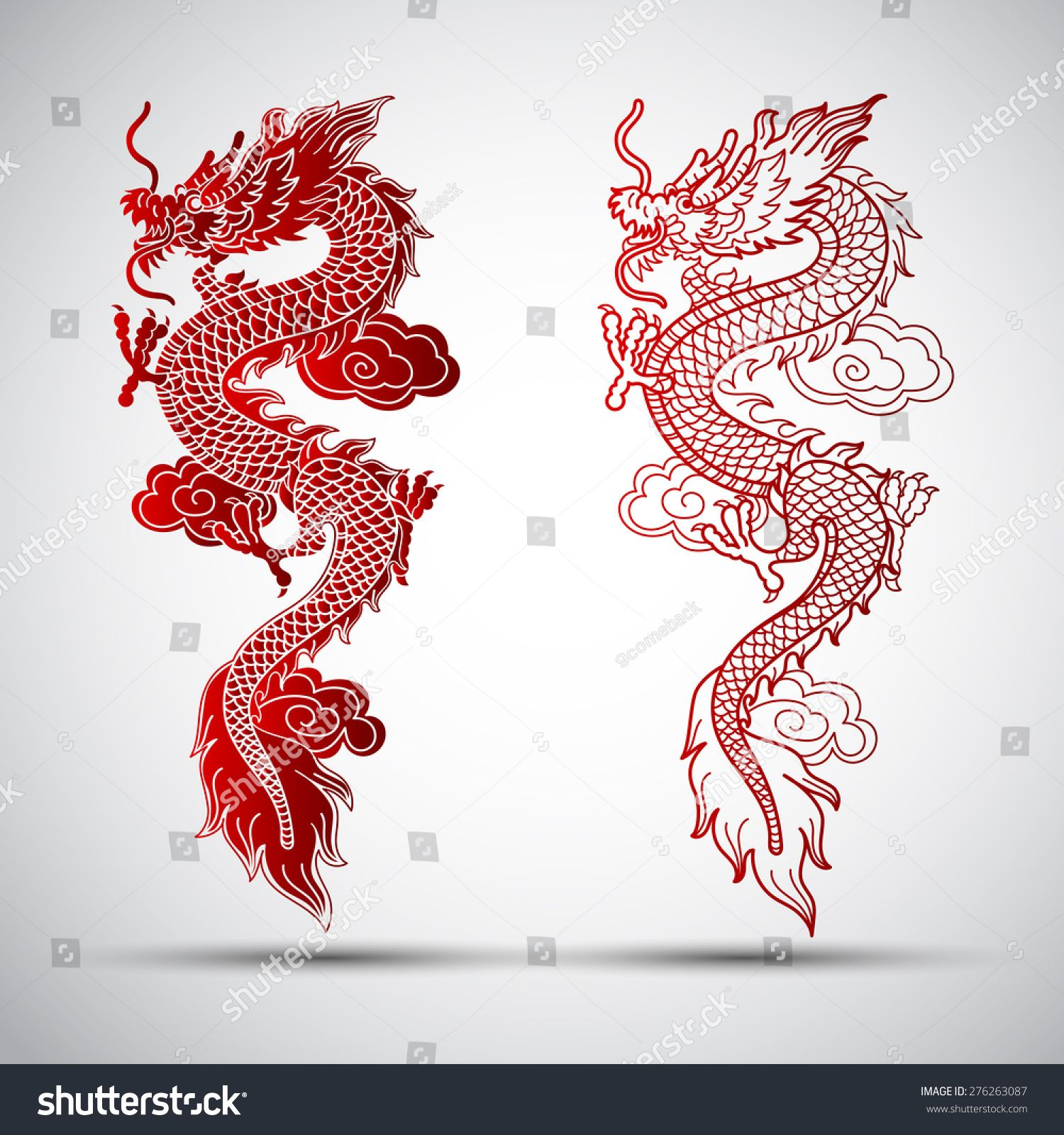 Illustration Of Traditional Chinese Dragon ,vector