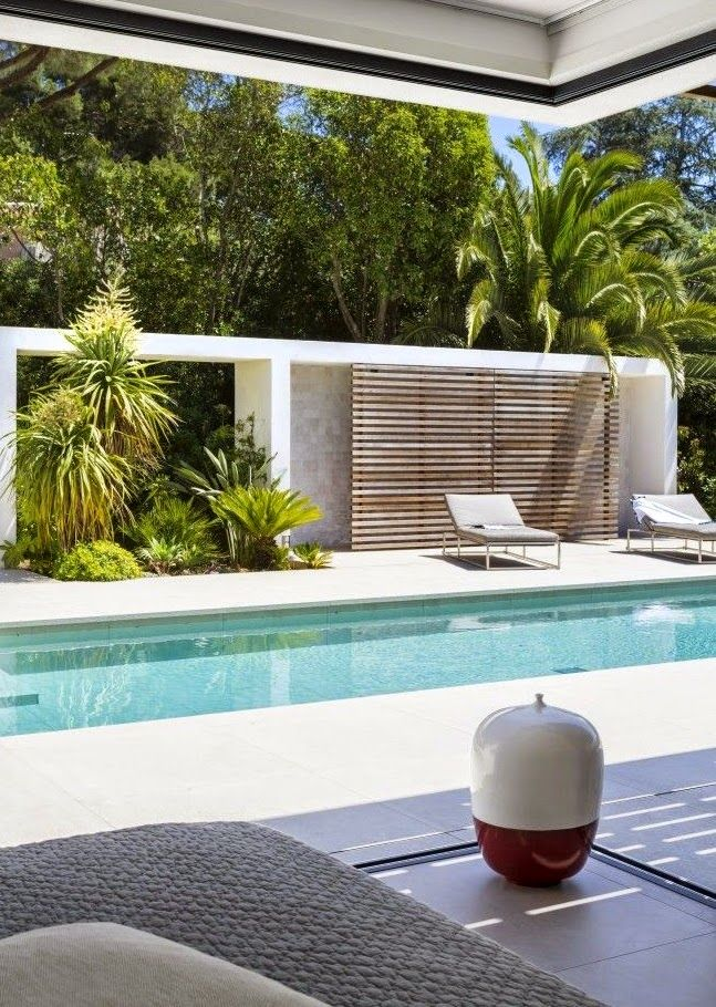 outdoor shower behind the wooden screen house in saint tropez france by vincent coste