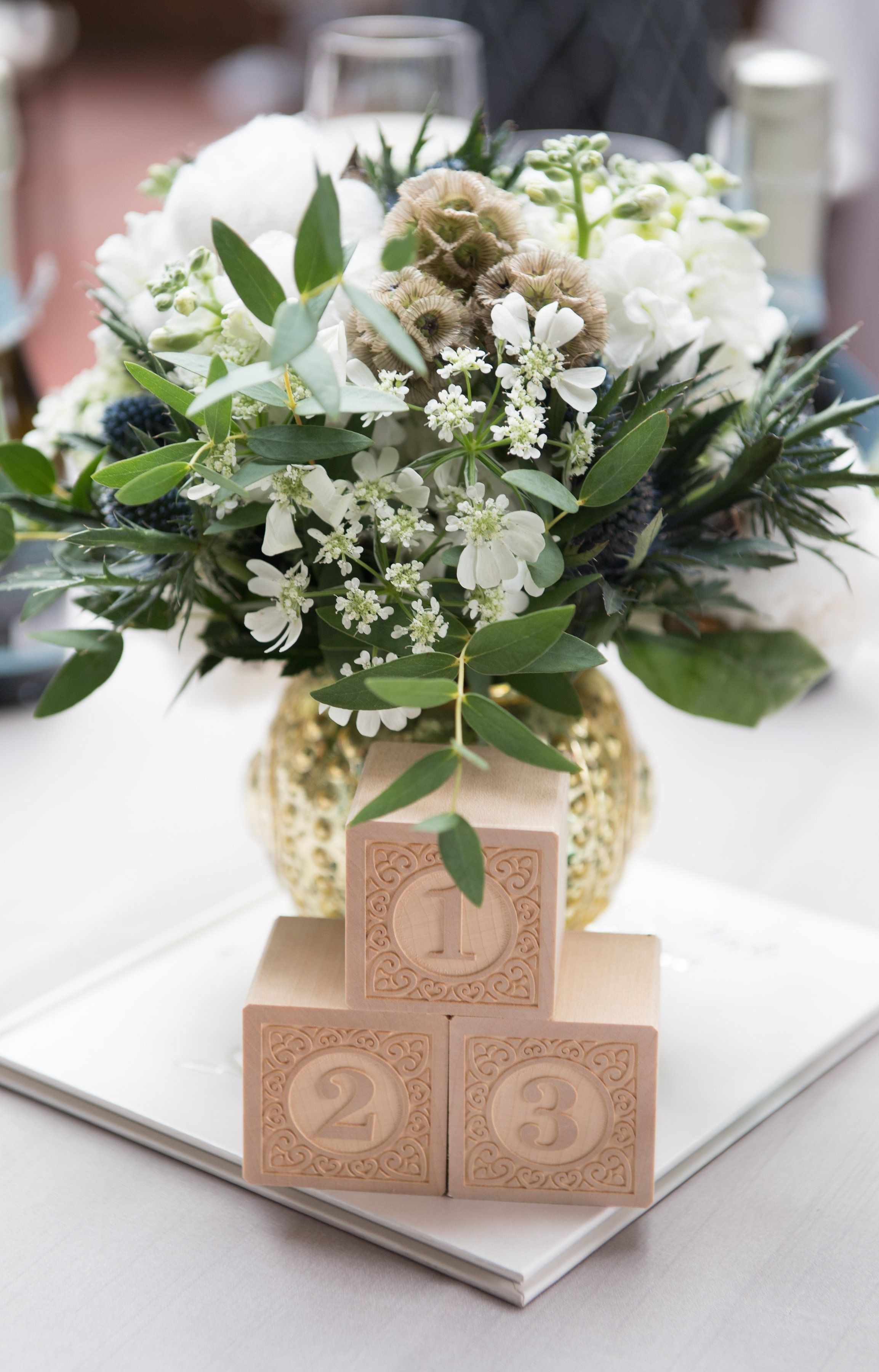 Baby Shower Centerpiece Inspiration Baby Books Wooden Building Blocks And Floral Arran Elegant Baby Shower Baby Shower Centerpieces Baby Blocks Baby Shower
