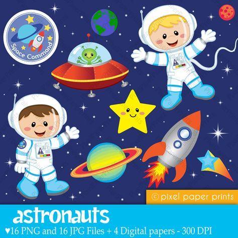 Astronauts - Clip art and Digital paper set - digital