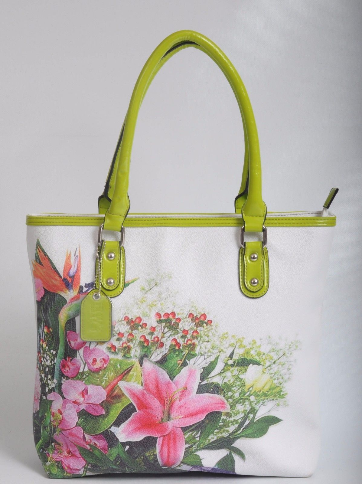 Envy collections #white faux #leather flower #print zipped tote bag,  View more on the LINK: http://www.zeppy.io/product/gb/2/131979826973/