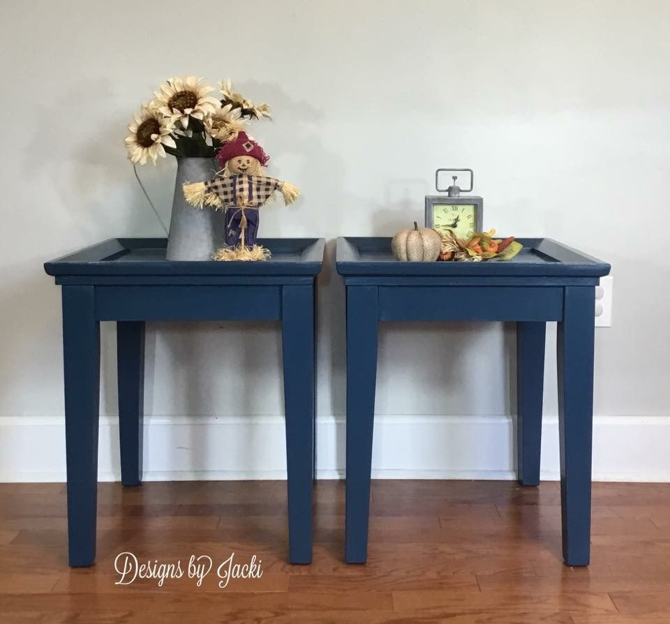 Captivating Refinished Navy Blue End Tables, Fall Staging