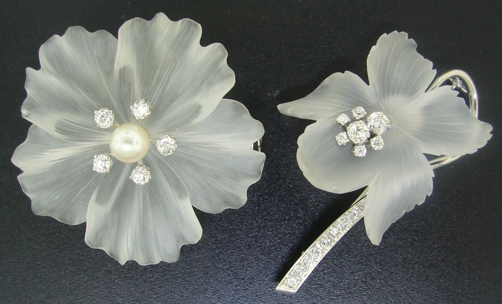 Carved Rock Crystal, Diamond, Pearl & White Gold Flower Pin Duo | From a unique collection of vintage brooches at http://www.1stdibs.com/jewelry/brooches/brooches/