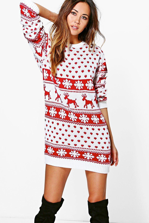 Lottie Reindeers & Snowflake Christmas Jumper Dress Robe