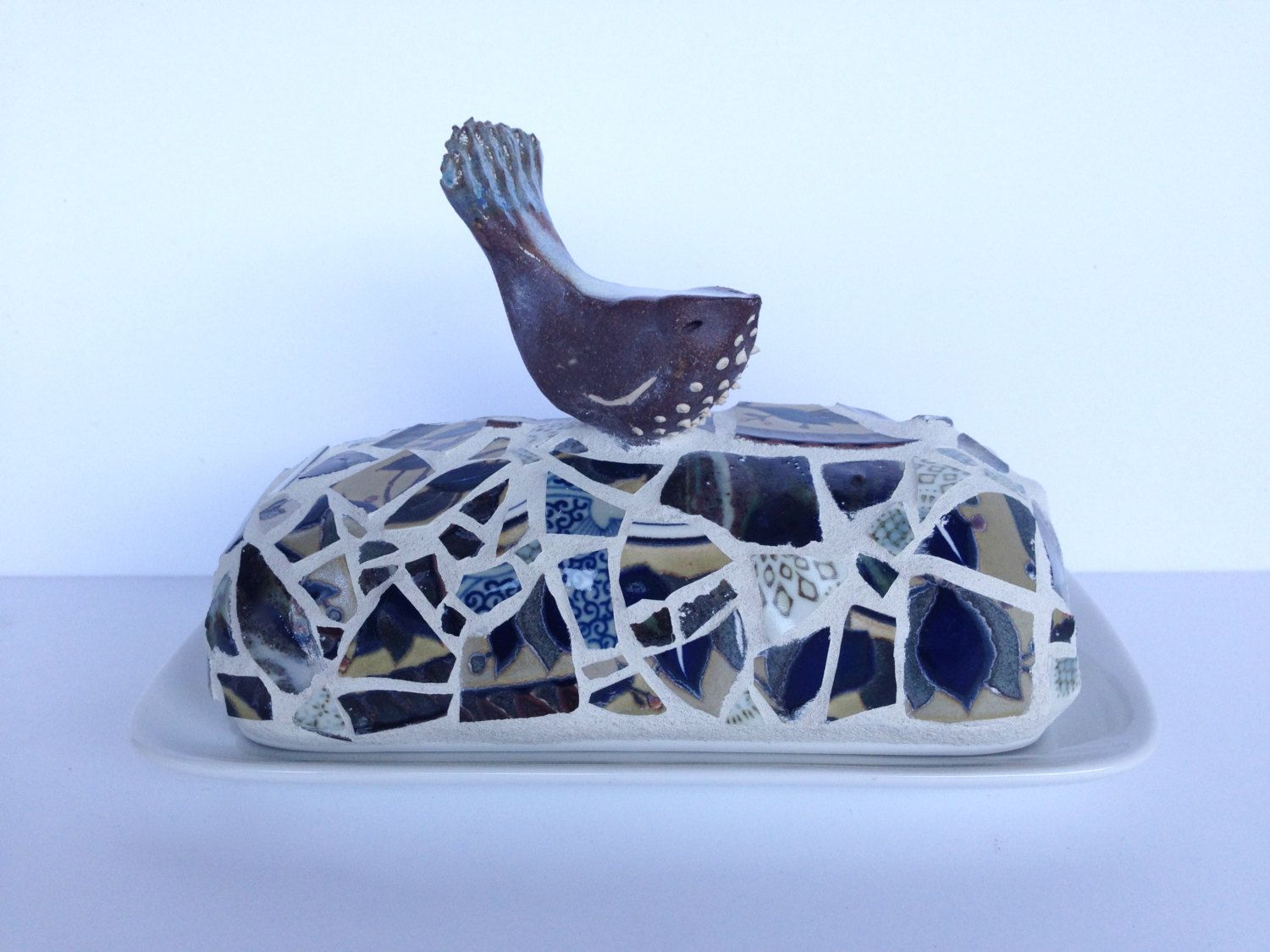 brown bird butter dish by butterbiskit on Etsy