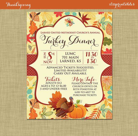 Fall Turkey Dinner Harvest Thanksgiving Invitation Poster – Dinner Ticket Template