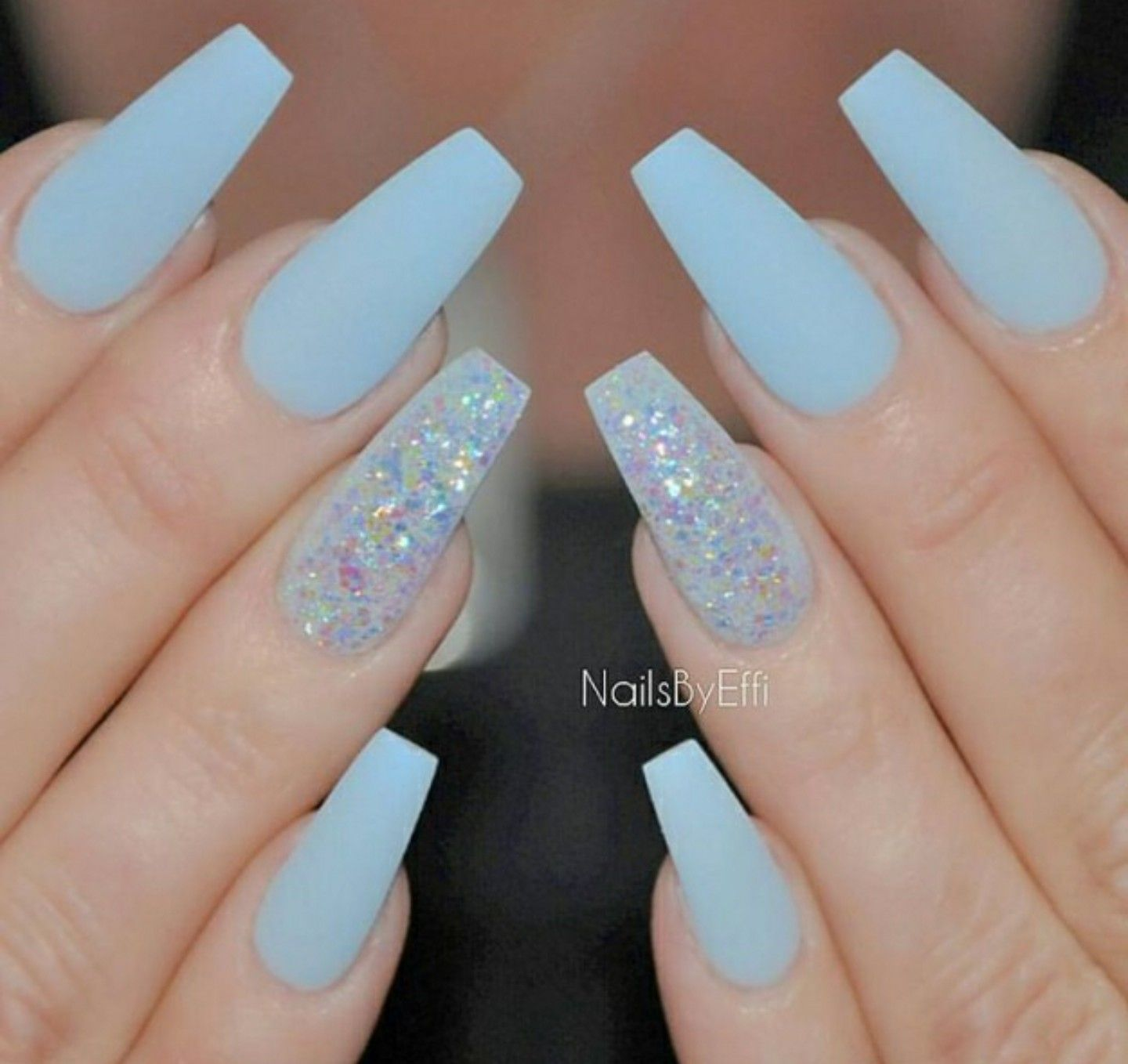 Pin By Sierra Joswick On Nails Blue Acrylic Nails Blue Coffin