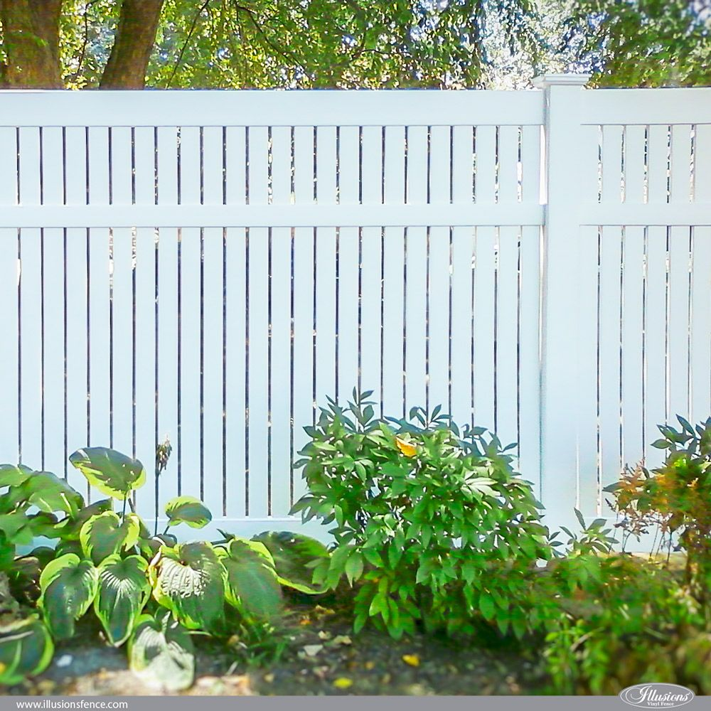 V500 Pvc Vinyl White Illusions Semi Privacy 3 Inch Board Fence Fence Fences Vinylfence Vinylfencing Semi Vinyl Fence White Vinyl Fence Vinyl Privacy Fence