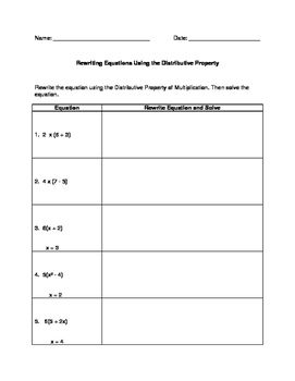 Rewriting Solving Equations Using The Distributive Property