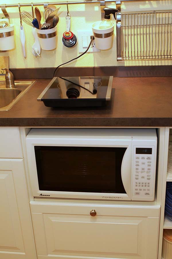 Under Counter Microwave For Easier Works: Cooking For A Family Of 6 With A Single Burner Induction