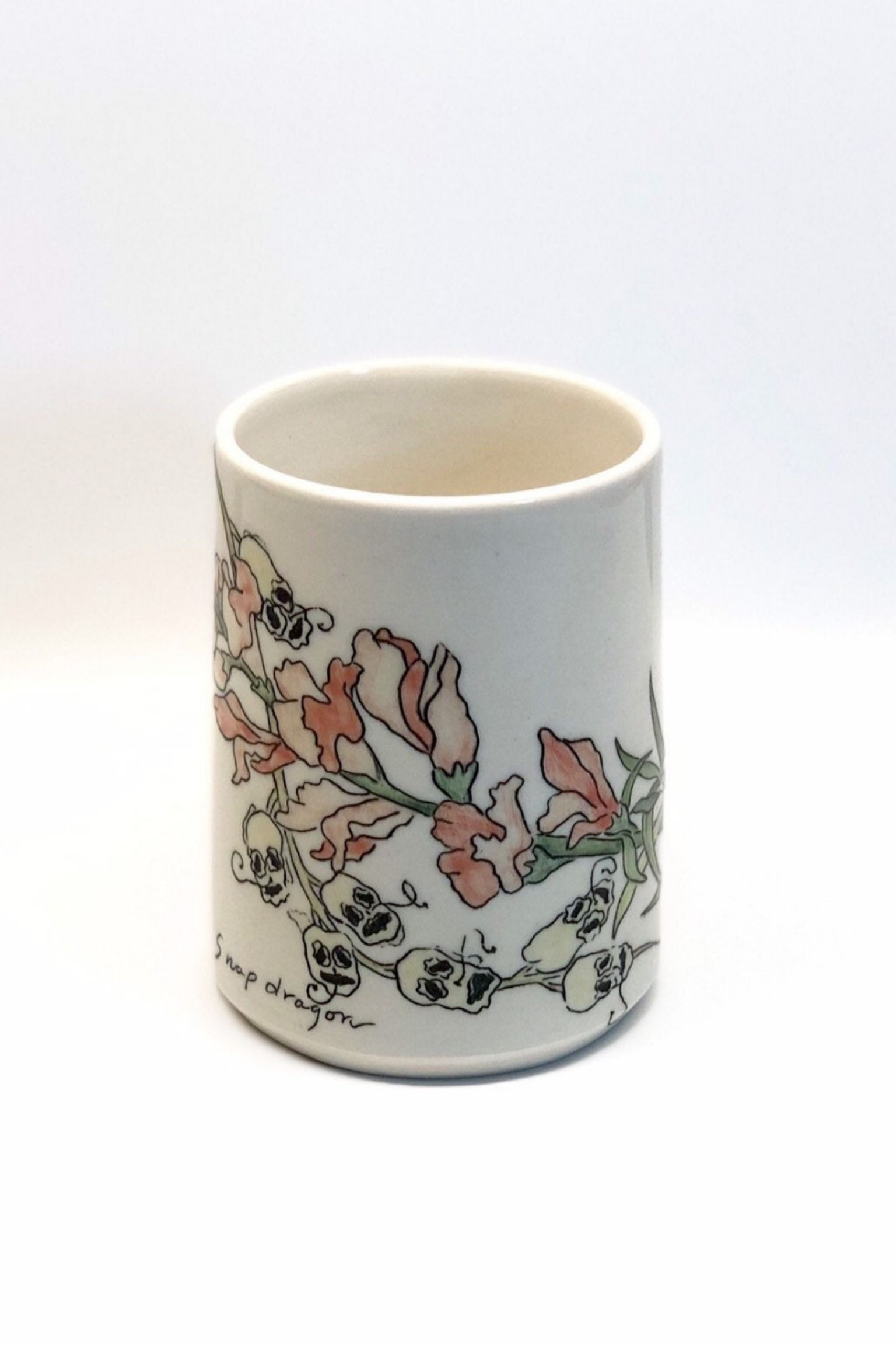 Hand Painted Snapdragon Coffee Mug Mishima Inlay Flower Skull Porcelain Mug Wheel Thrown Snapdragon Flowers Pottery Pieces Hand Painted