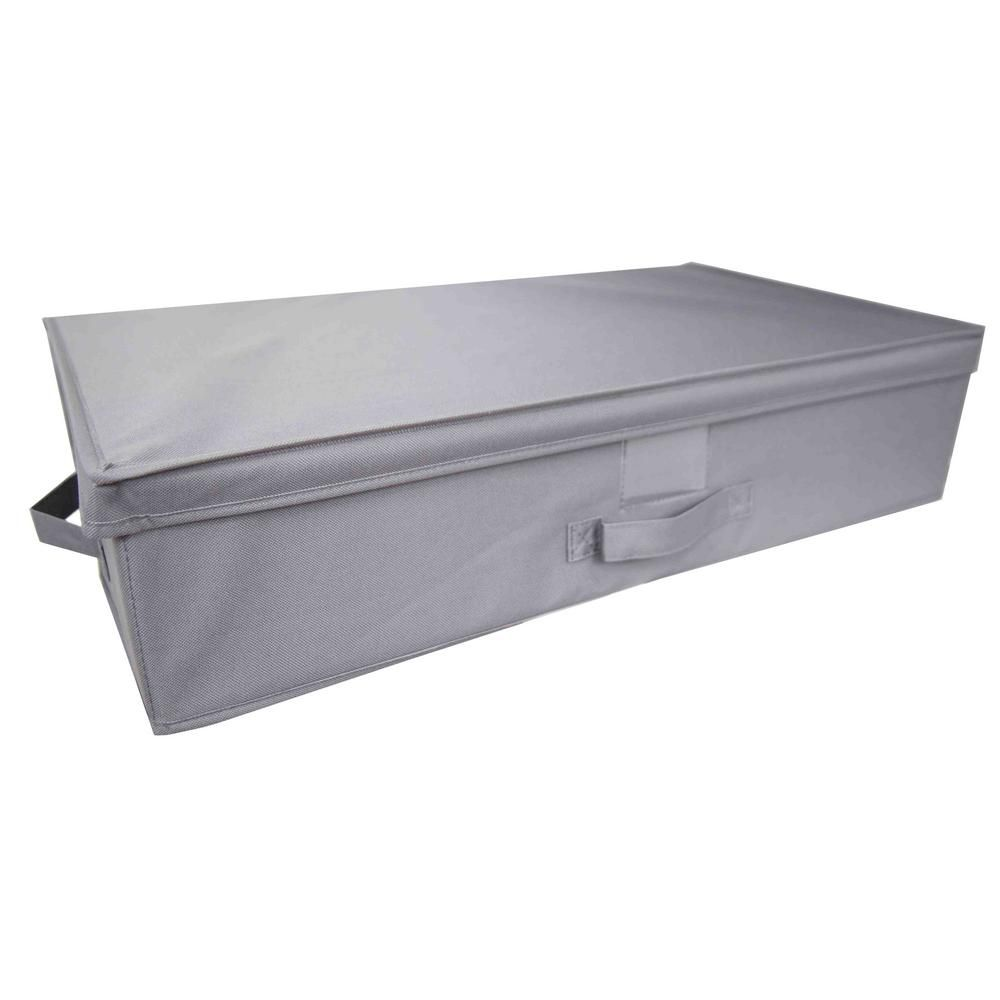 Home Basics 16 In D X 6 In H X 28 In W Grey Fabric Cube Storage Bin Sb45208 The Home Depot Grey Storage Home Basics Bed Storage