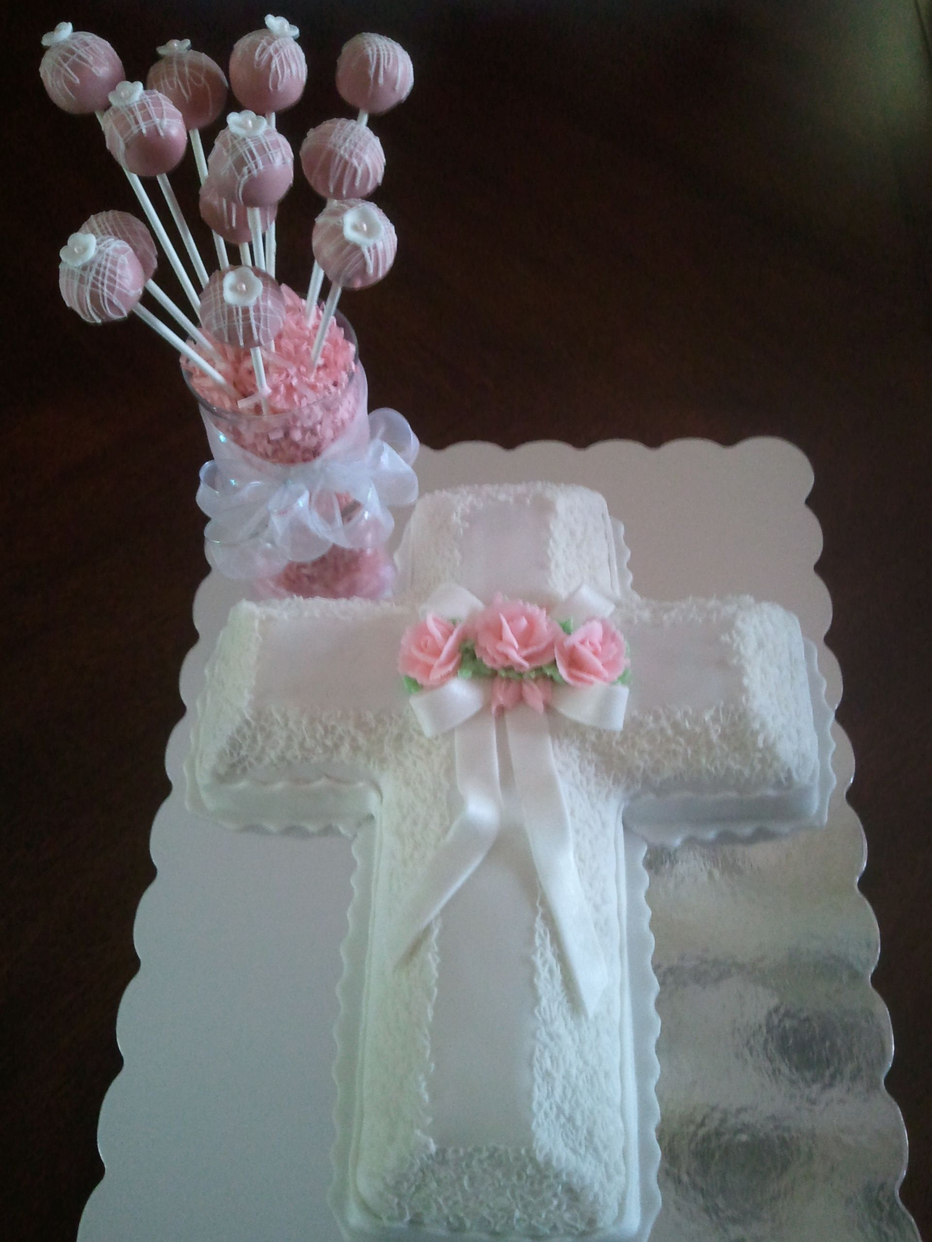 Cross Cake With Pink Roses With Images Easter Themed Cakes