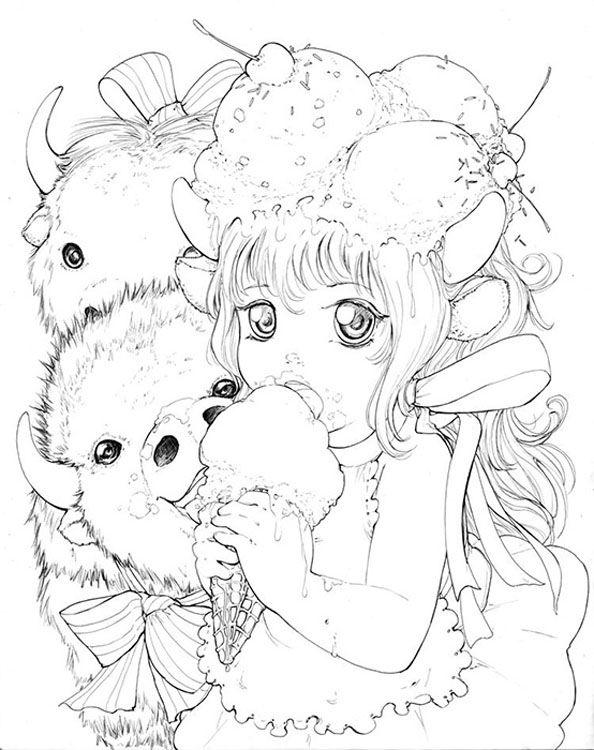 Ink Work Manga Coloring Book Coloring Book Art Camilla D Errico