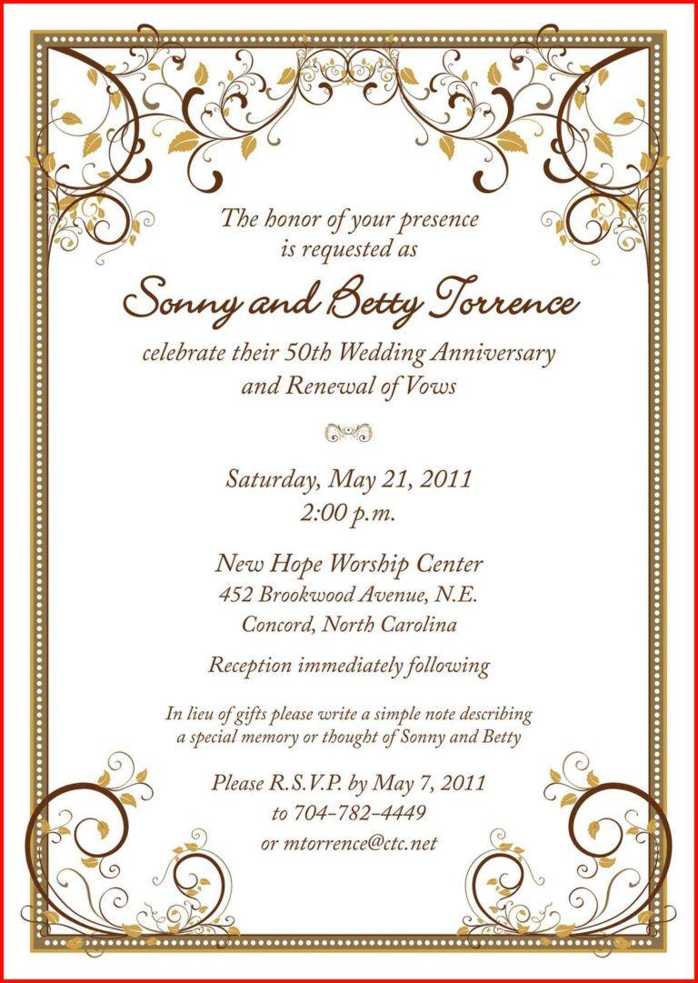 Free Printable Invitation Templates For Word Wedding With Regard