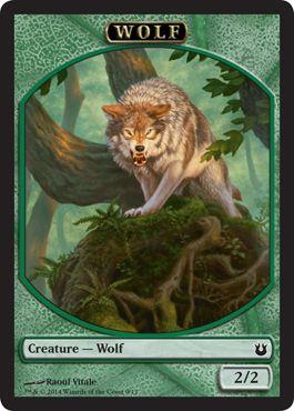 Innistrad Green 4x Wolf Token