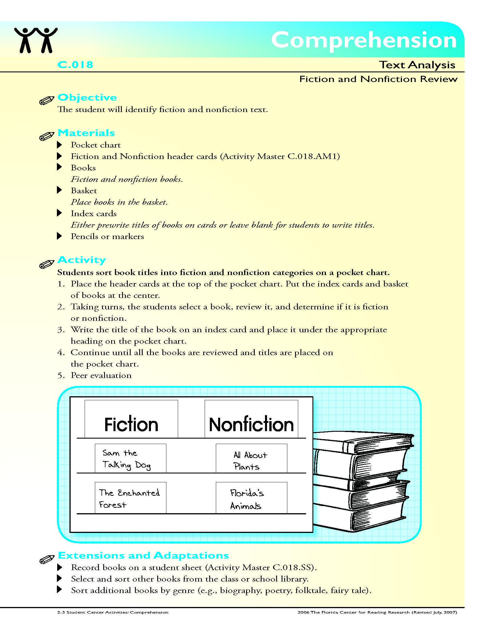 The Student Will Identify Fiction And Nonfiction Text