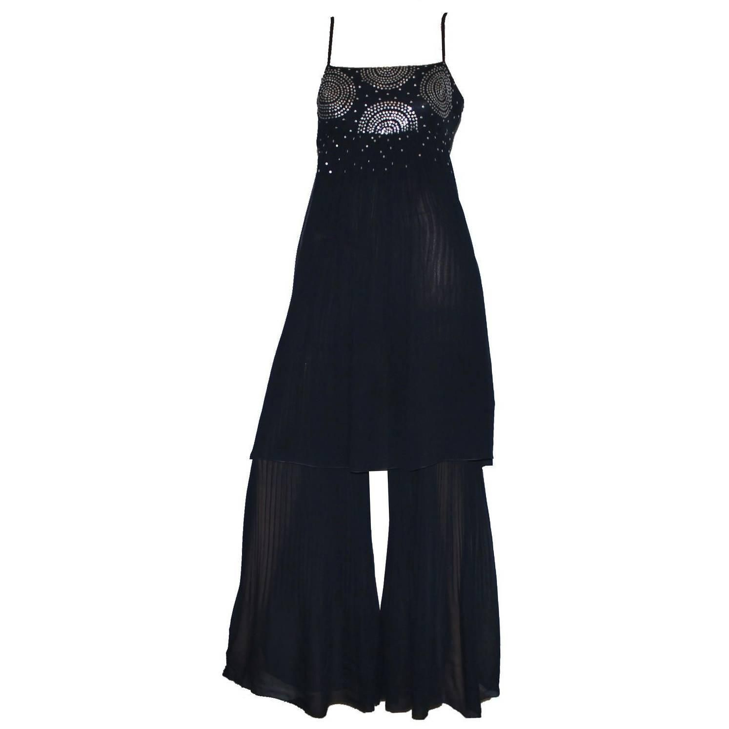 Gorgeous Chanel Pleated Silk & Sequin Harem Evening Jumpsuit Overall