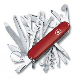 Victorinox Taschenmesser Swiss Champ 33 rot / Victorinox pocket knife Swiss Champ 33 red This pocket knife has many different tools.
