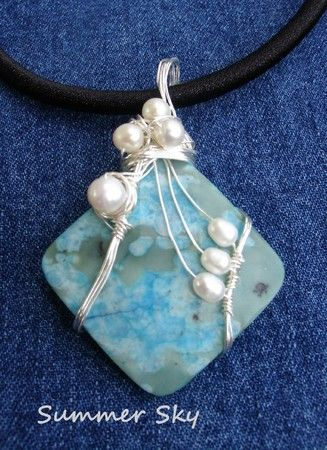Components: Turqouise dyed jasper pendant, fresh water pearls ...