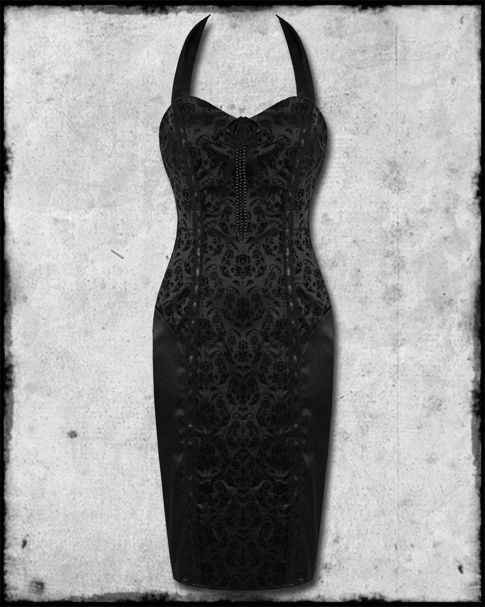 cb04d524c88 BANNED BLACK GOTHIC STEAMPUNK KEY TO MY HEART FLOCKED DAMASK CORSET PENCIL  DRESS