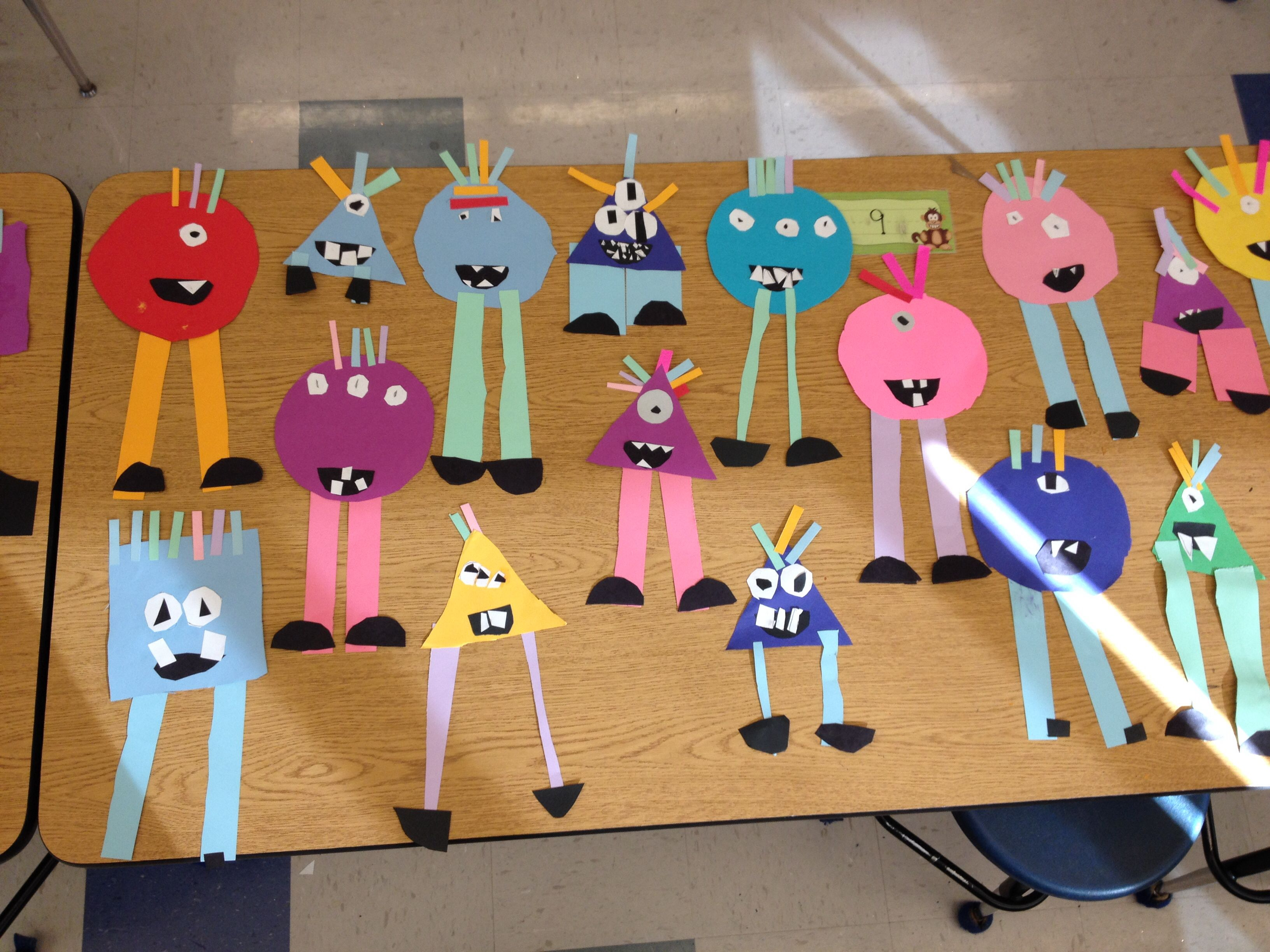 Shape Monsters By Kindergarten Photo Only Kindergarten Art Lessons Shapes Kindergarten Kindergarten Art