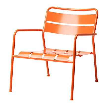 Ikea Modern Orange Metal Outdoor Arm Chair