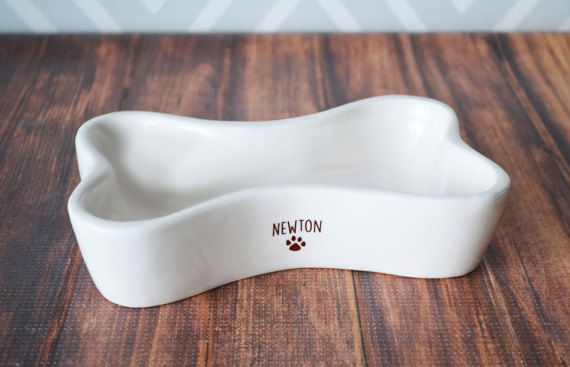 Personalized Dog Bowl   Bone Shaped Bowl  With Name by Susabellas #dogbonedish
