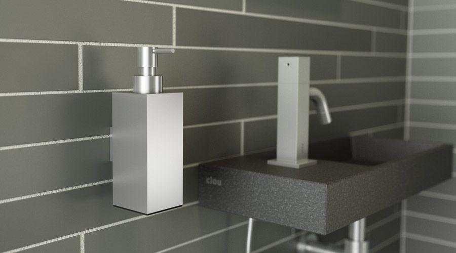CLOU Quadria minimalist bathroom accessories and graphite stone effect wall  hung wash basin