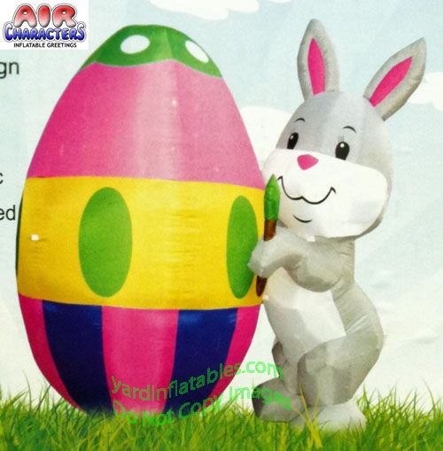 7 Ft EASTER BUNNY PAINTING EGG Airblown Lighted Yard Inflatable