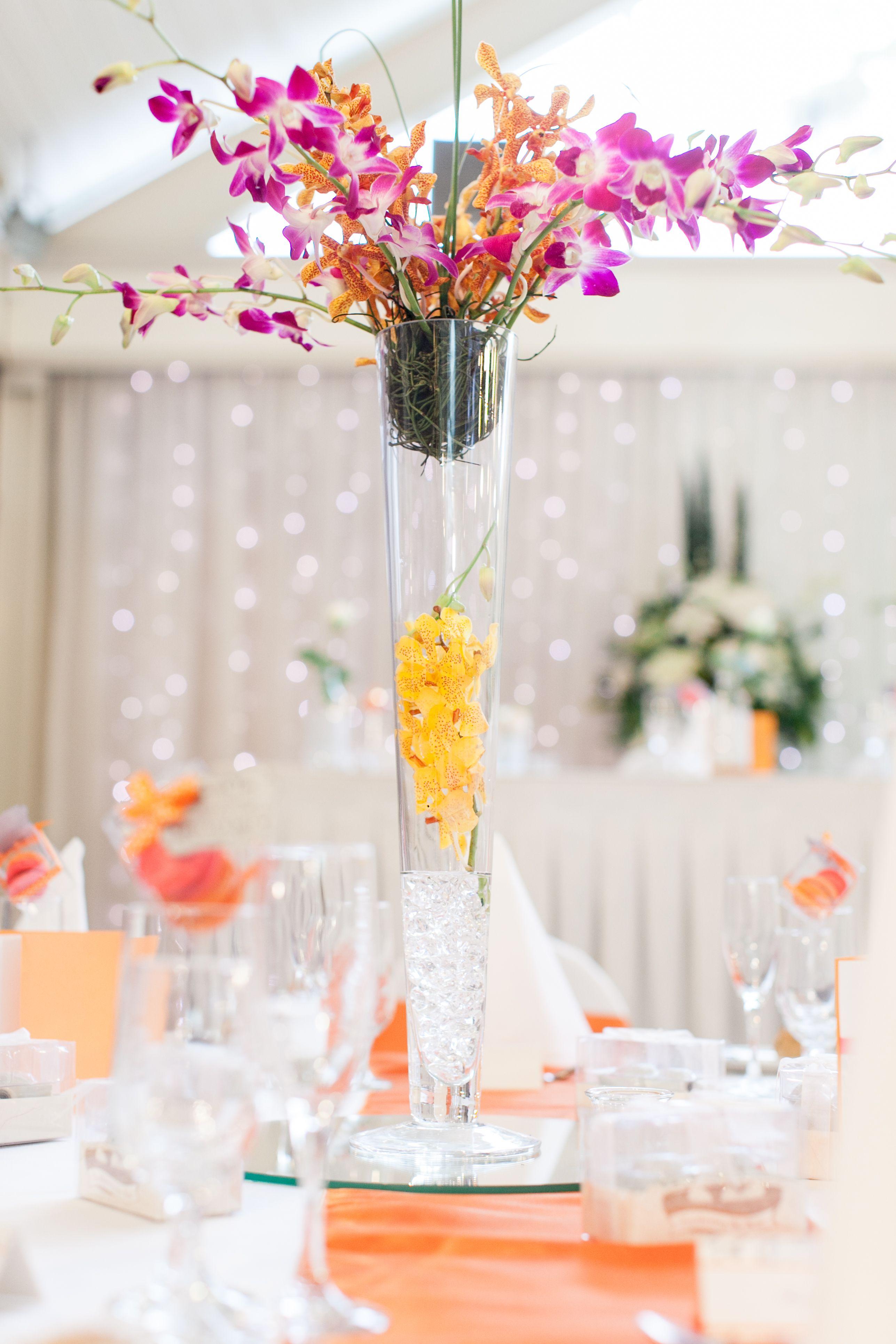 Theme: Orange and Pink Wedding Table Centrepiece flower vase ...