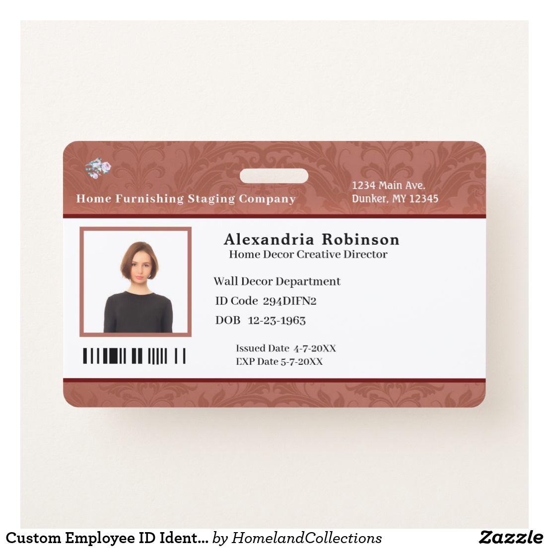 Custom Employee Id Identification Photo Bar Code Badge Zazzle Com Custom Medical Business Custom Badges