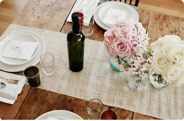 burlap table runner varied small bouquets in jars & tablestyling #dinnerpartyideas | For the home | Pinterest ...