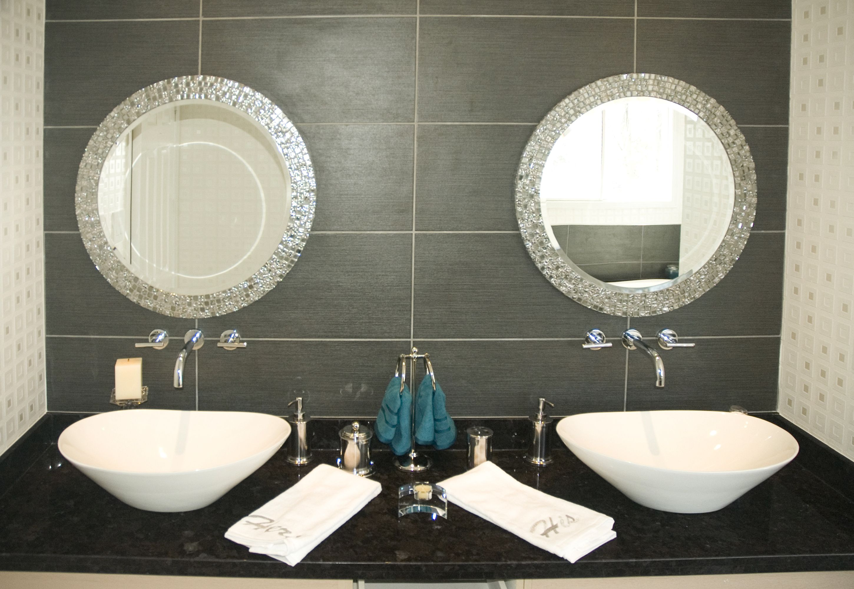 round mirror with beveled edge custom mosaic frame on custom bathroom vanity mirrors id=26370