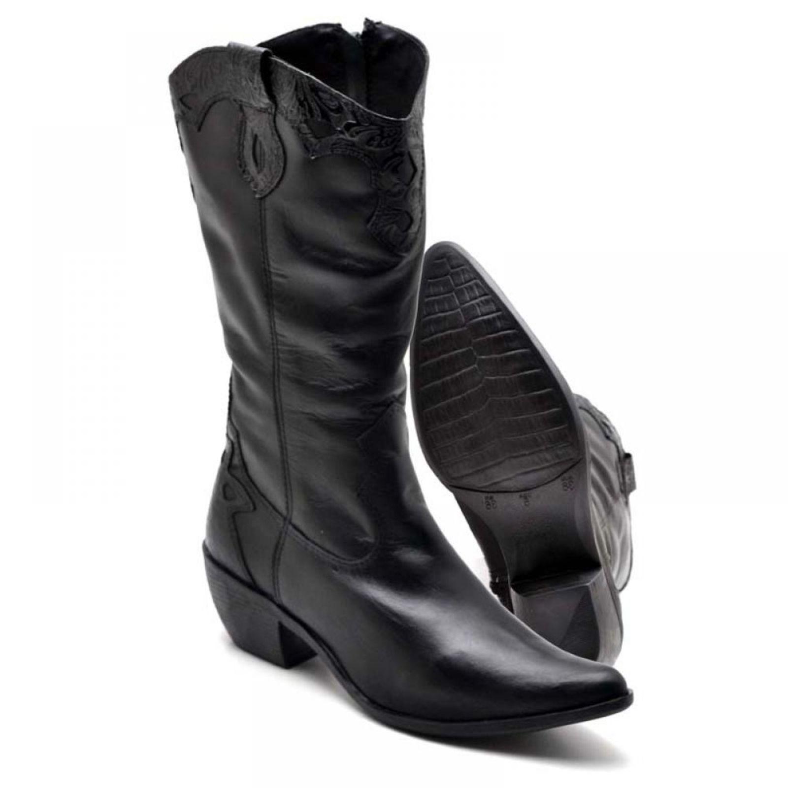 Bota Country Bico Fino Top Franca Shoes Preto | Botas