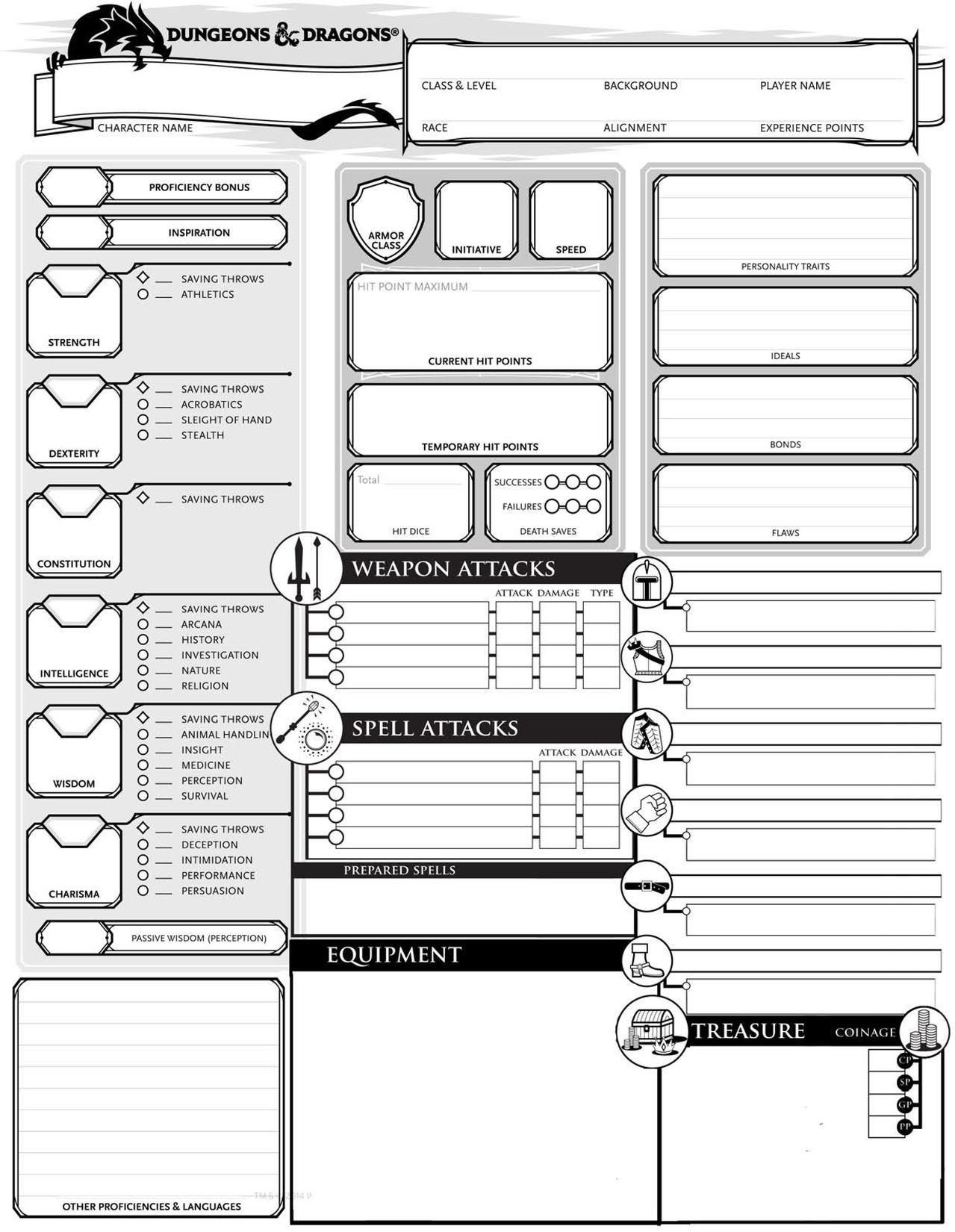 Resource image intended for dungeons and dragons character sheet printable