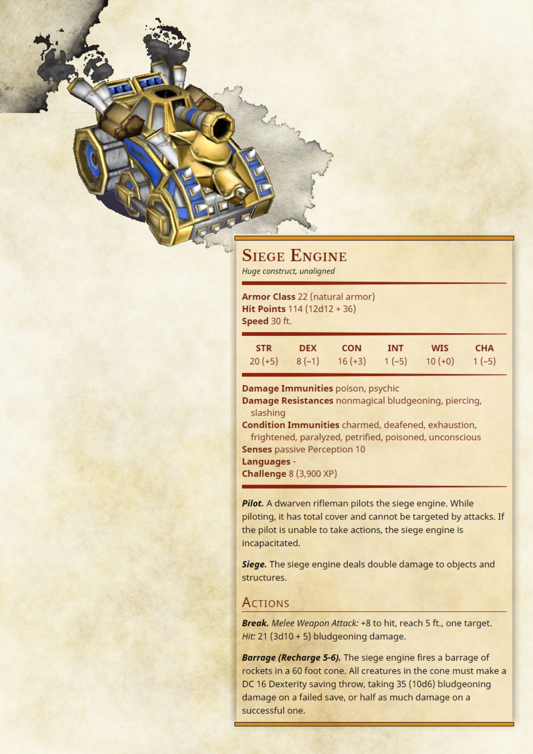Seige Engine | monsters in 2019 | Dungeons, dragons homebrew