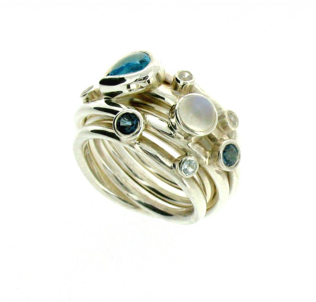 Will Bishop Sterling Silver & Gemstone Bangle Rings D1Lco88PW