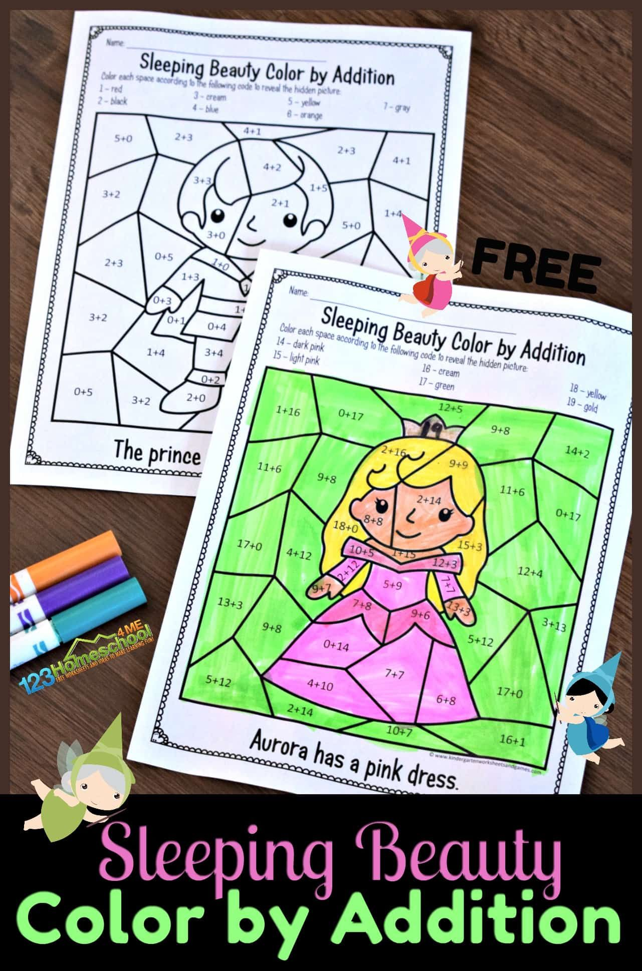 Free Sleeping Beauty Color By Addition