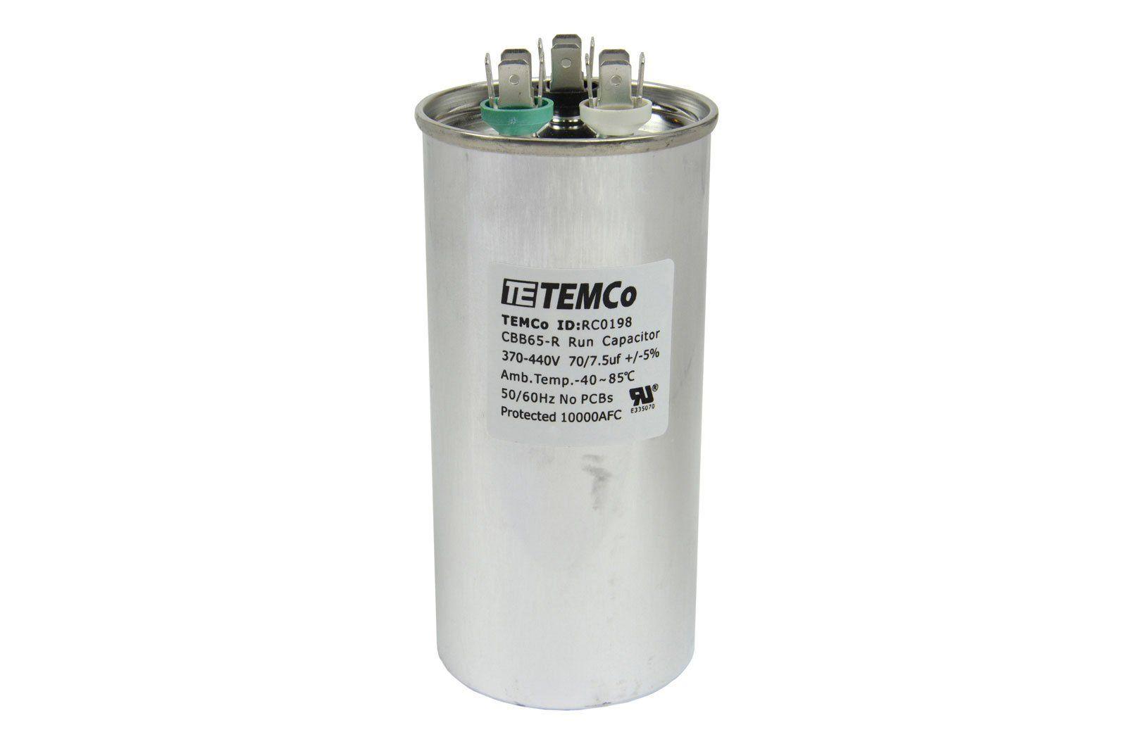 Temco 10 Lot Dual Run Capacitor Rc020070 7 5 Mfd 370 V 440 V Vac Volt 70 7 5 Uf Ac Electric Motor Hvac You Can Get More 10 Things Electric Motor Electricity