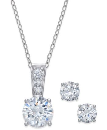 35882f3f3 Giani Bernini 2-Pc. Set Cubic Zirconia Round Pendant Necklace and Stud Earring  Set in 18k Gold-Plated Sterling Silver,