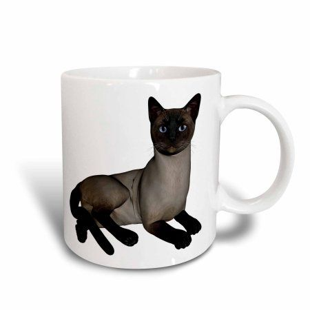 3drose Siamese Cat Laying Down, Ceramic Mug, 15ounce
