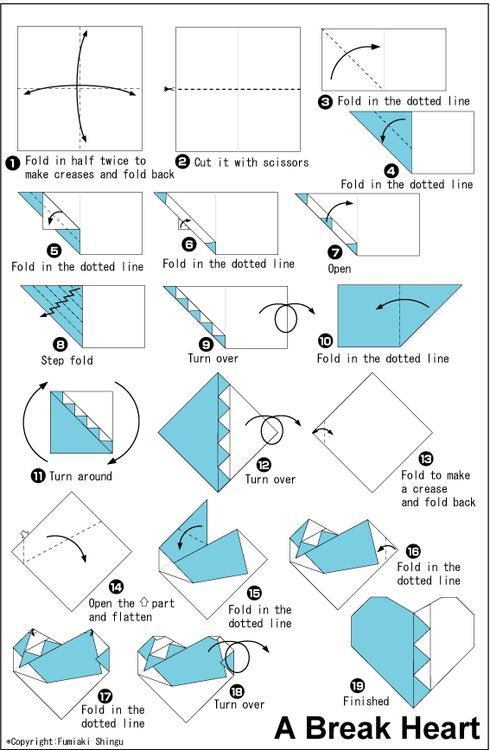 Origami Broken Heart Folding Instructions Origami Instruction