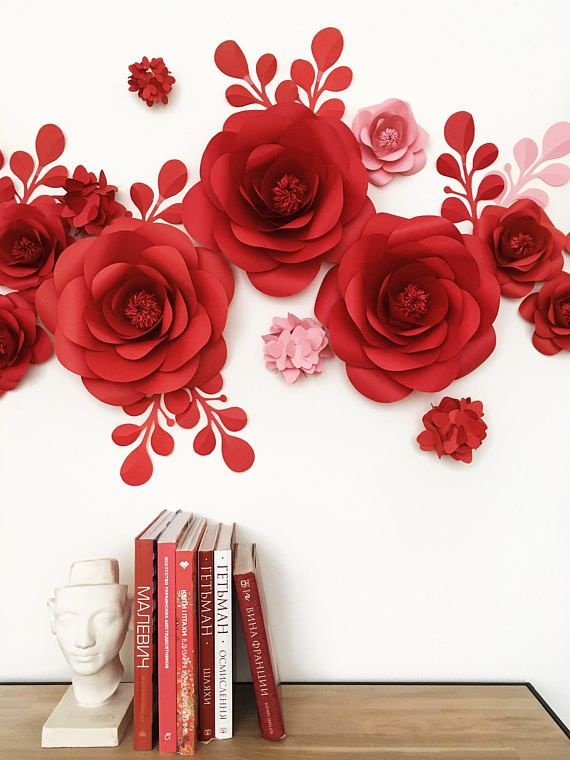 set of paper flowers for wall decor baby girl room decor nursery