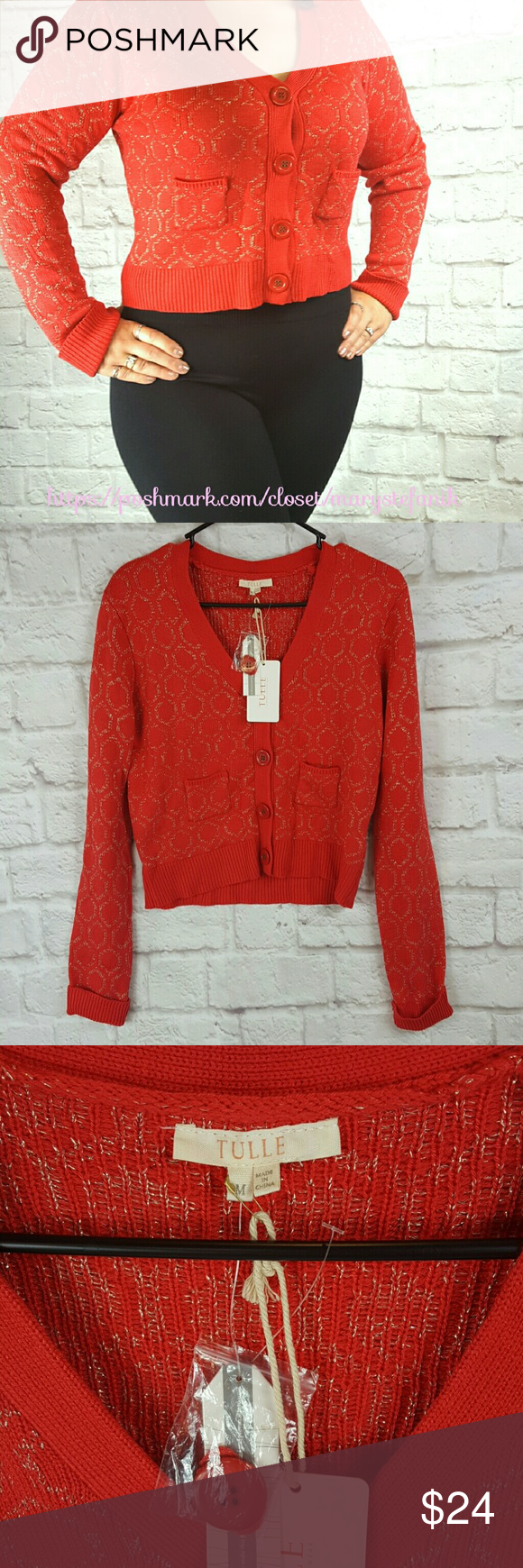 "❌ CYBER MONDAY ❌ NWT Tulle Red Gold Sweater 🆕 NWT Tulle Red and Gold Vintage Style Cardigan. Two front pockets. Button front enclosure. Size S and M available. 45% Rayon, 45% Nylon, and 10% Polyester.   Small: Waist from Seam to Seam: 17"" Length from Top: 21""  Medium: Waist from Seam to Seam: 18"" Length from Top: 21""  Please let me know if you have any questions. Happy Poshing! Tulle Sweaters Cardigans"